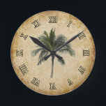 "Palm Tree Round Clock<br><div class=""desc"">This design will match any tropical interior. More products with this design available.</div>"