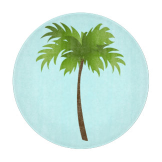 Palm Tree Round Glass Cutting Board