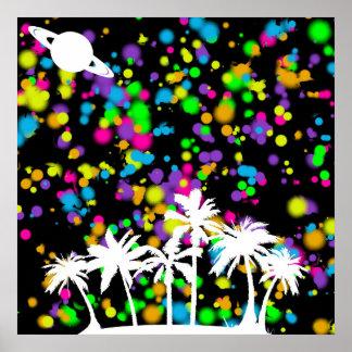 Palm Tree & Saturn Poster