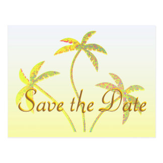 Palm Tree Save the Date Golden Glitter Postcard