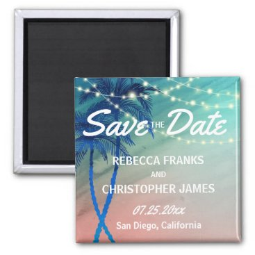 Beach Themed Palm Tree Save the Date Magnets | Teal Blue Peach