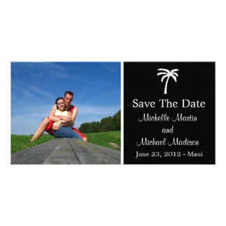 Palm Tree Save The Date Photocard (Black) Card