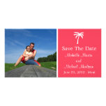 Palm Tree Save The Date Photocard (Coral) Photo Card Template