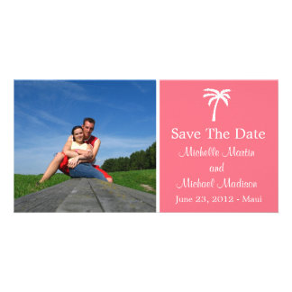 Palm Tree Save The Date Photocard Salmon Pink Personalized Photo Card