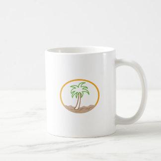PALM TREE SCENE APPLIQUE COFFEE MUG