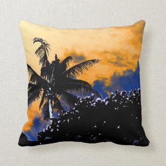 palm tree sea grapes florida blue sky graphic throw pillow