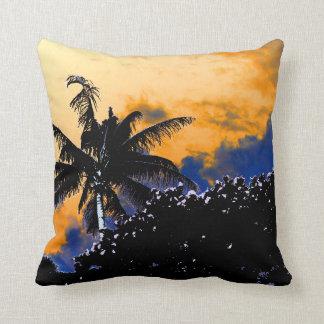 palm tree sea grapes florida blue sky graphic pillow