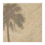 Palm Tree Shadow on Beach Sand Background - Palms Canvas Print