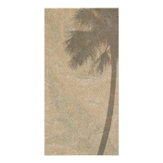Palm Tree Shadow on Beach Sand Background Palms Card