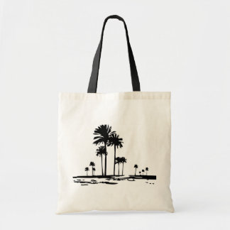 Palm tree silhouette tote bags