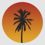Palm Tree Silhouette Beach Party Stickers