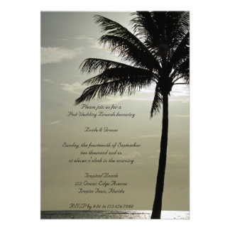 Palm Tree Silhouette Beach Post Wedding Brunch Personalized Announcements