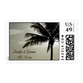 Palm Tree Silhouette Beach Wedding Postage Stamp