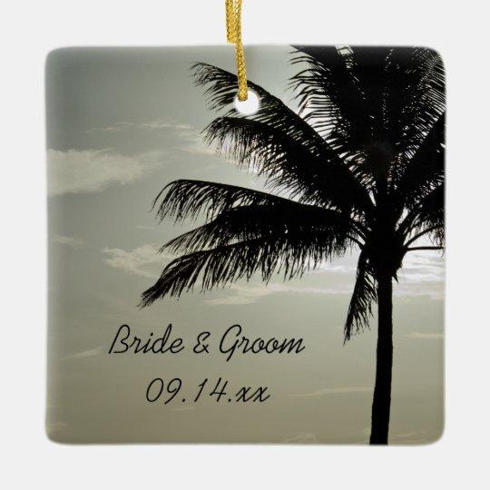 Palm Tree Silhouette Beach Wedding Square Ceramic Ornament