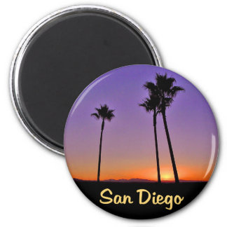 Palm Tree Silhouette In San Diego 2 Inch Round Magnet