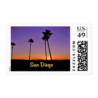 Palm Tree Silhouette In San Diego Postage