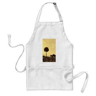 Palm Tree Silhouette in Yellow Tones Adult Apron