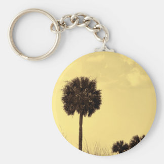 Palm Tree Silhouette in Yellow Tones Basic Round Button Keychain