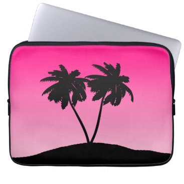 Beach Themed Palm Tree Silhouette on Dawn Pink Computer Sleeve