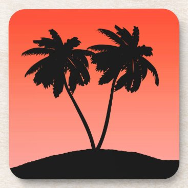 Beach Themed Palm Tree Silhouette on Sunset Orange Drink Coaster