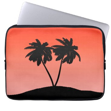Beach Themed Palm Tree Silhouette on Sunset Orange Laptop Sleeve