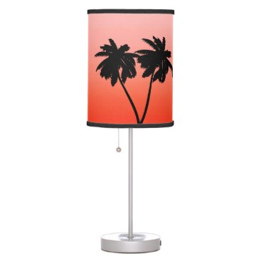 Beach Themed Palm Tree Silhouette on  Sunset Orange Table Lamp
