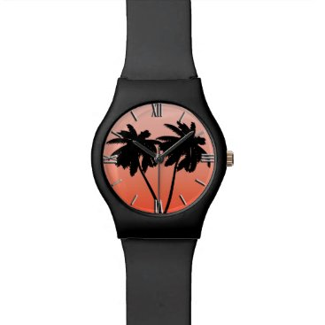 Beach Themed Palm Tree Silhouette on Sunset Orange Wristwatches