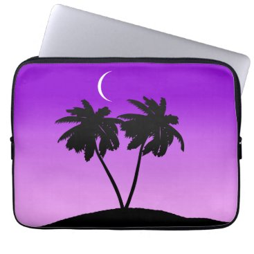 Beach Themed Palm Tree Silhouette on Twilight Purple Computer Sleeve