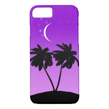 Beach Themed Palm Tree Silhouette on Twilight Purple iPhone 7 Case