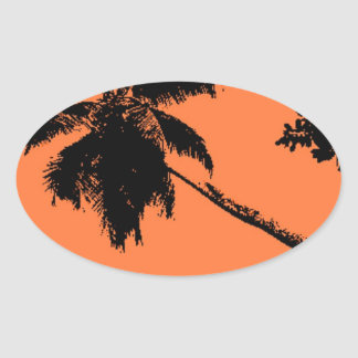 Palm Tree Silhouette Oval Sticker