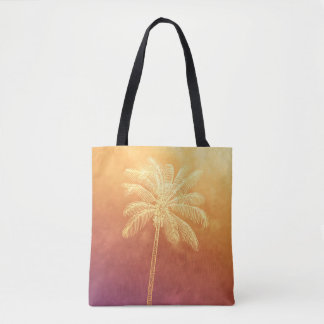 palm tree silhouette tropical sunset ombre tote bag