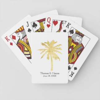 Palm Tree Silhouette Wedding Playing Cards