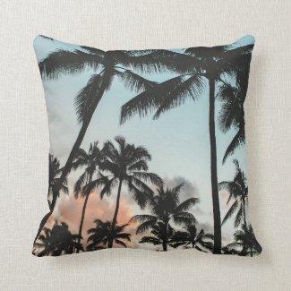 Palm Tree Silhouettes Throw Pillow