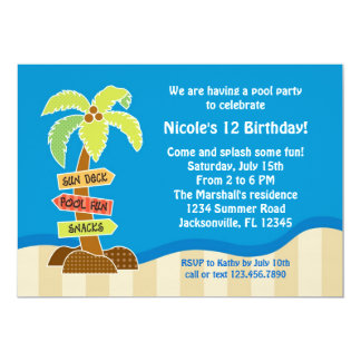 "Palm Tree Sing Pool Party Invitation 5"" X 7"" Invitation Card"