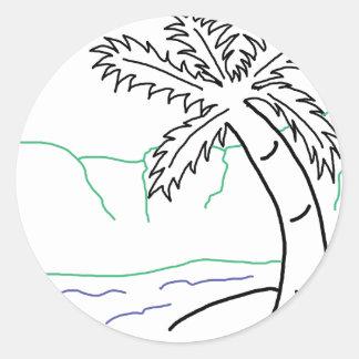 Palm tree sketch classic round sticker