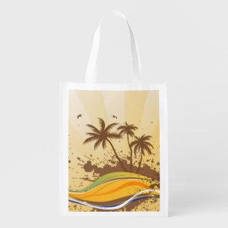 Palm Tree Splash Grocery Bag