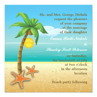 Palm tree & starfish beach destination wedding 5.25x5.25 square paper invitation card