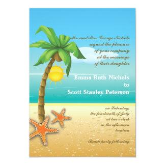 Palm tree & starfish beach destination wedding 5x7 paper invitation card