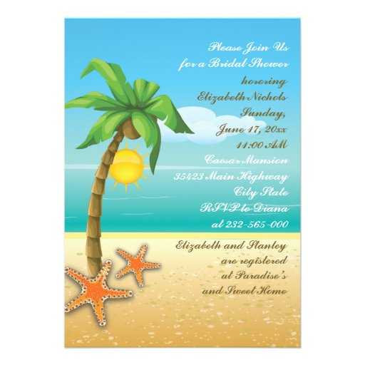 Palm Tree Amp Starfish Beach Wedding Bridal Shower 5x7 Paper Invitation Card