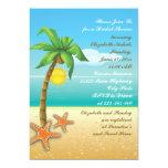Palm tree & starfish beach wedding bridal shower 5x7 paper invitation card