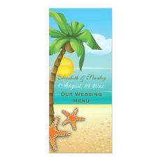 Palm tree & starfish beach wedding menu card 4
