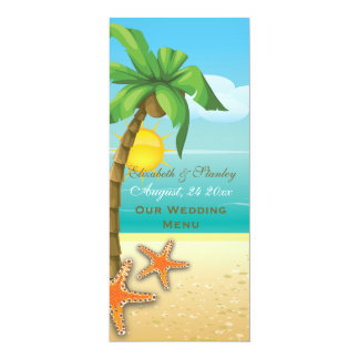 "Palm tree & starfish beach wedding menu card 4"" x 9.25"" invitation card"
