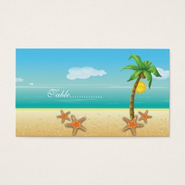Beach Themed Palm tree & starfish beach wedding place card