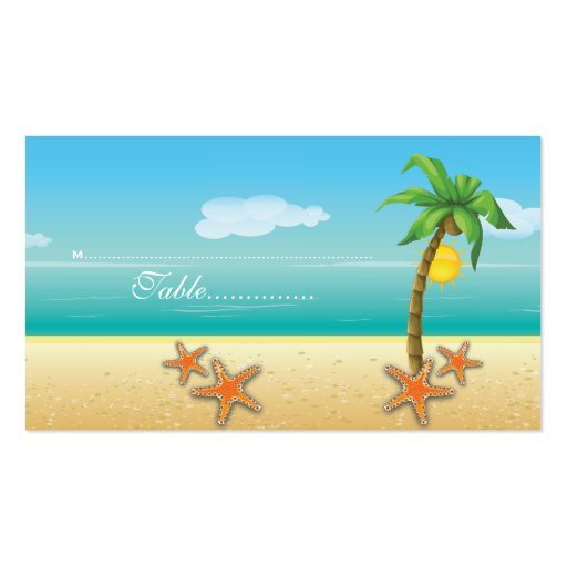 Palm tree & starfish beach wedding place card business card