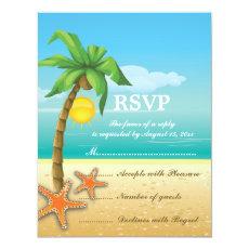 Palm tree & starfish beach wedding RSVP card 4.25