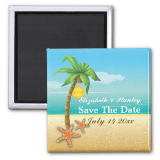 Palm tree & starfish beach wedding Save the Date 2 Inch Square Magnet