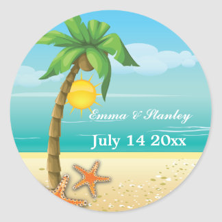 Palm tree & starfish beach wedding Save the Date Classic Round Sticker