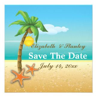 Palm tree & starfish beach wedding Save the Date Custom Invitation