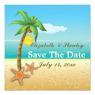 Palm tree & starfish beach wedding Save the Date 5.25x5.25 Square Paper Invitation Card