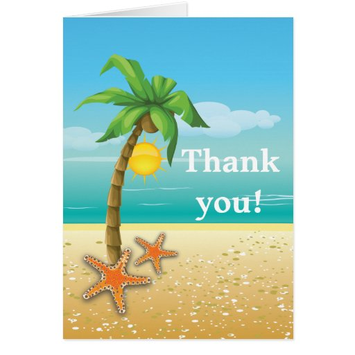 Palm tree & starfish beach wedding Thank You Card | Zazzle